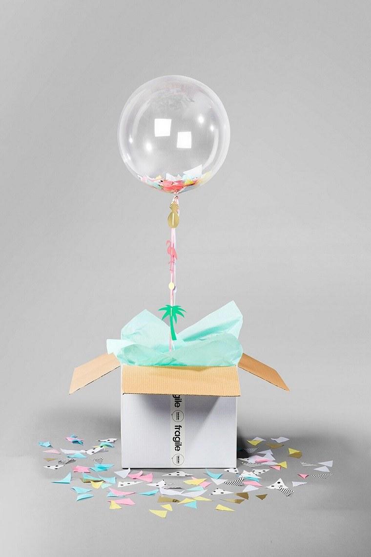 caja cartón globo confeti