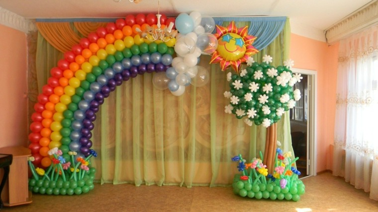 globos fiesta arcoiris arbol original decoracion ideas