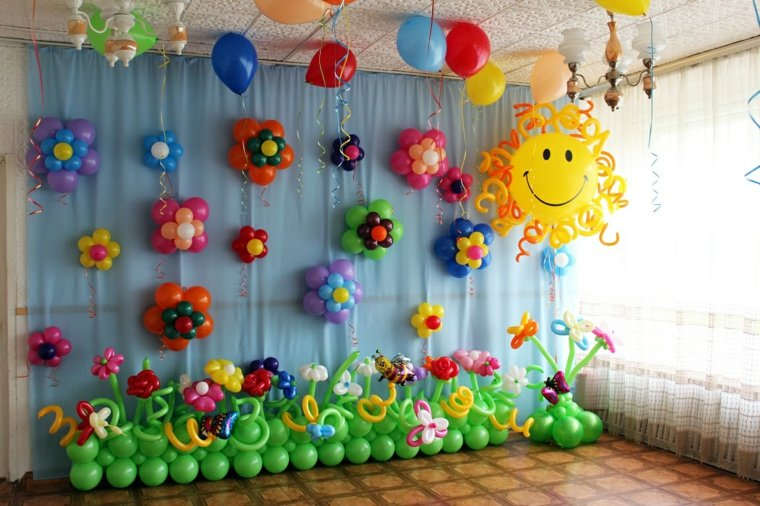globos fiesta pared flores globos ideas