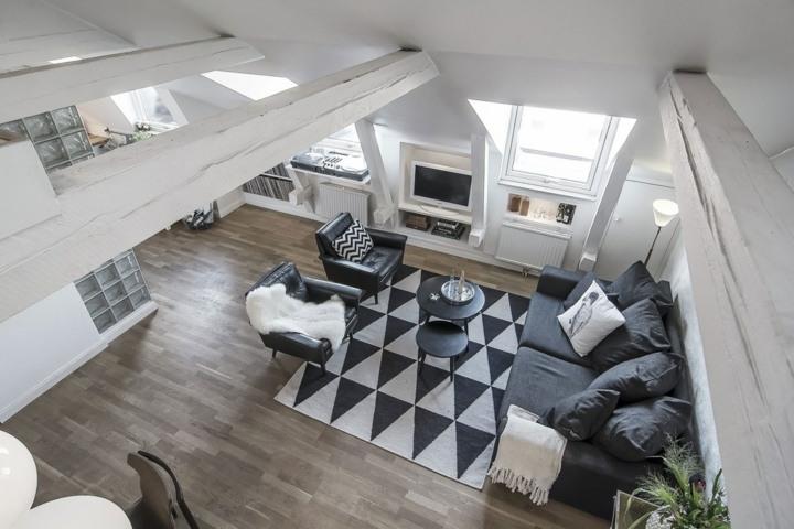 gran sofa triangulos alfombra diferente cuero