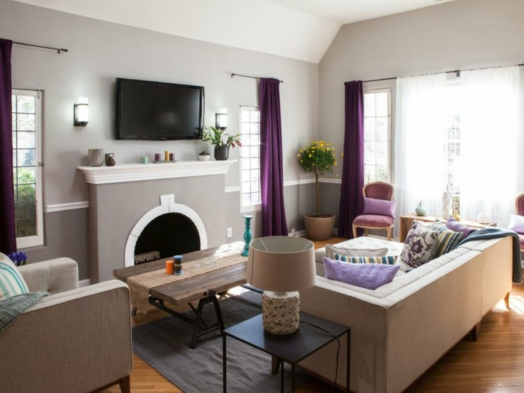 gris salon puerpura acentos mesas