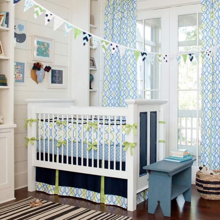habitaciones de bebé niño azul detalles decorativos ideas