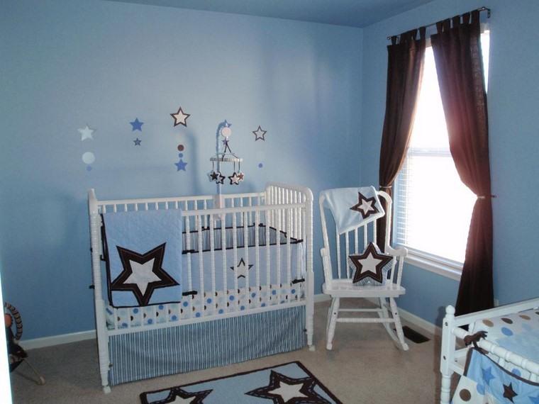 habitaciones de bebé niño azul marron cuna ideas