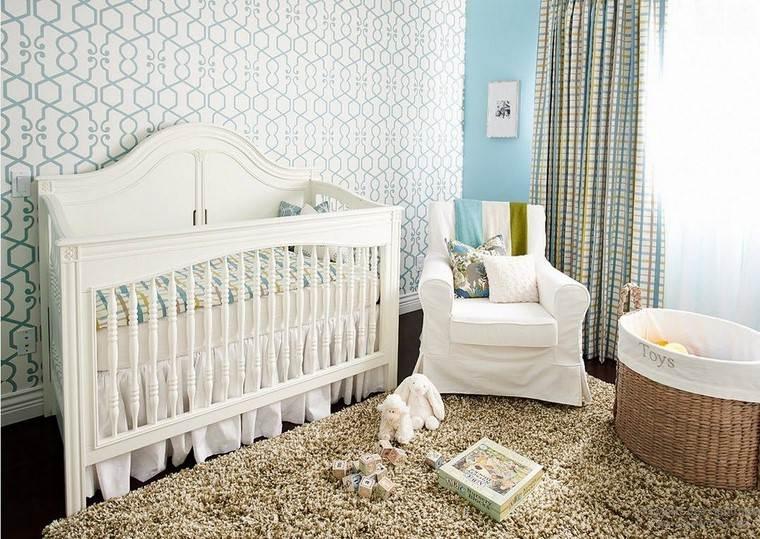 habitaciones de bebé niño azul papel pared ideas