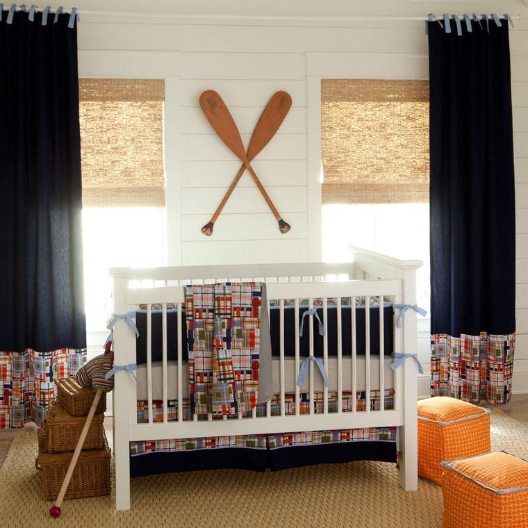habitaciones de bebé niño cortinas ropa cama ideas
