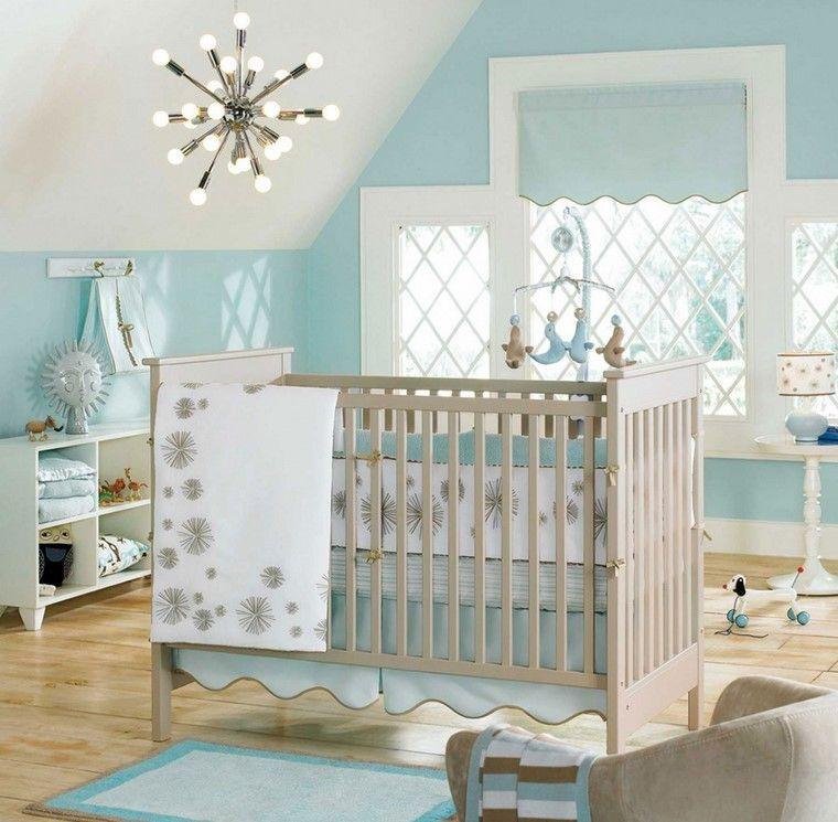 habitaciones de bebé niño decoracion azul claro ideas