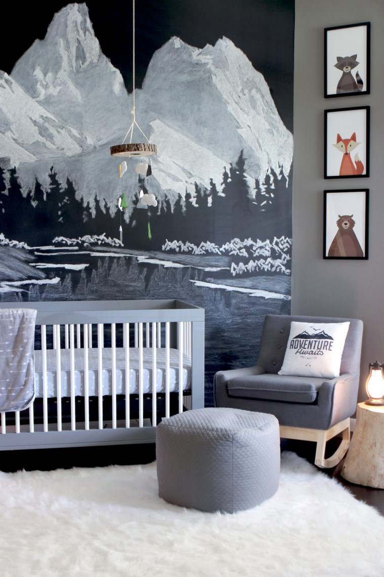 habitaciones de bebé niño decoracion gris pared ideas