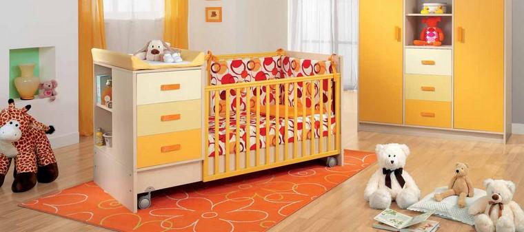 habitaciones de bebé niño decoracion naranja amarillo ideas