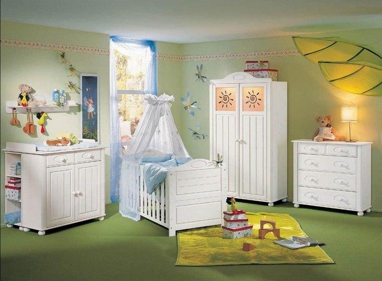 habitaciones de bebé niño decoracion verde claro ideas
