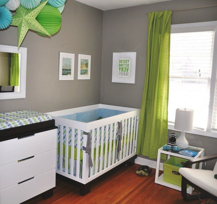 habitaciones de bebe nino decoracion verde ideas