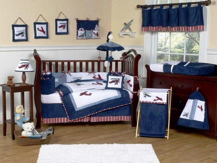 habitaciones de bebé niño detalles telas azul ideas