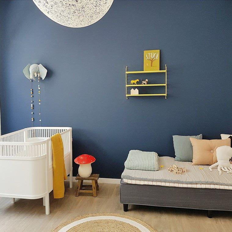 habitaciones de bebé nino pared azul oscuro ideas