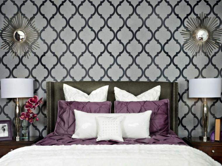 habitaciones decoradas con papel pintado pared