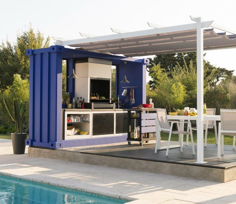 jardin piscina cocina aire libre opciones ideas