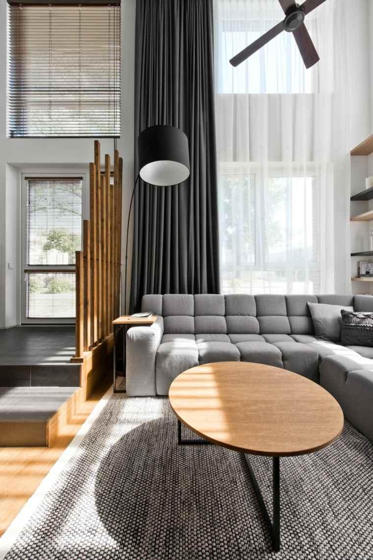 lampara salon combinaciones cortinas oscuros