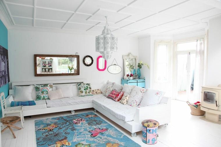 lamparas de techo para salon colores brillantes blanco
