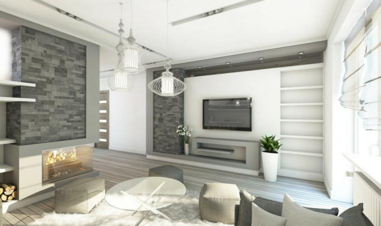lamparas de techo para salon pendientes geometricas ideas