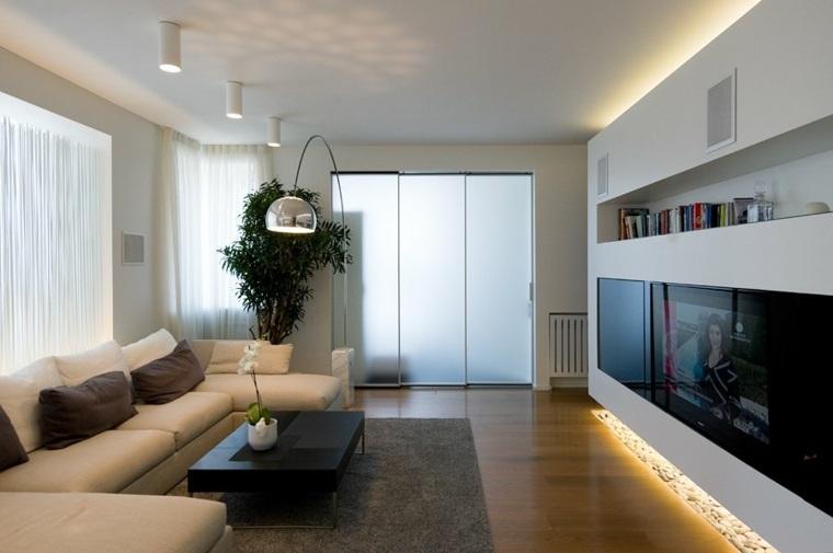 lamparas de techo para salon plantas blanco muebles