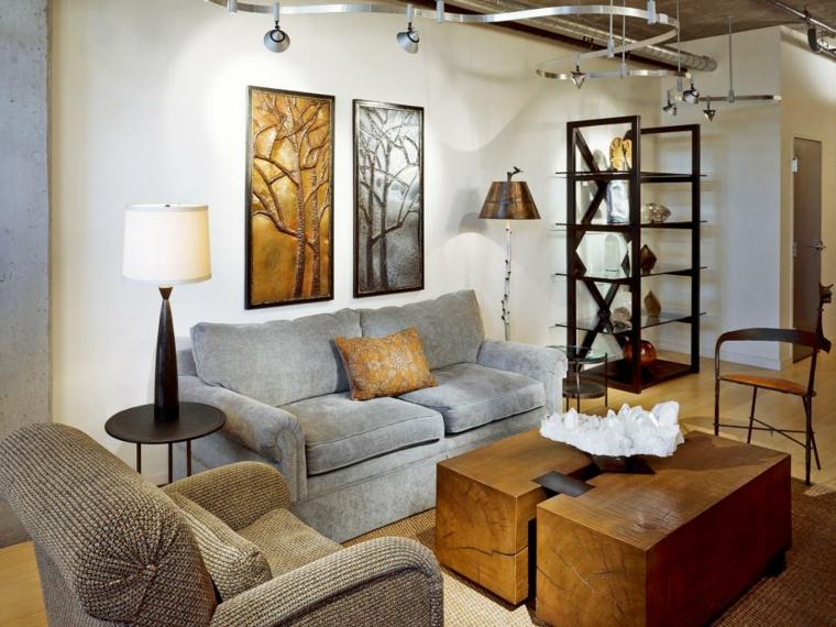 lamparas para salon madera combinadas centro