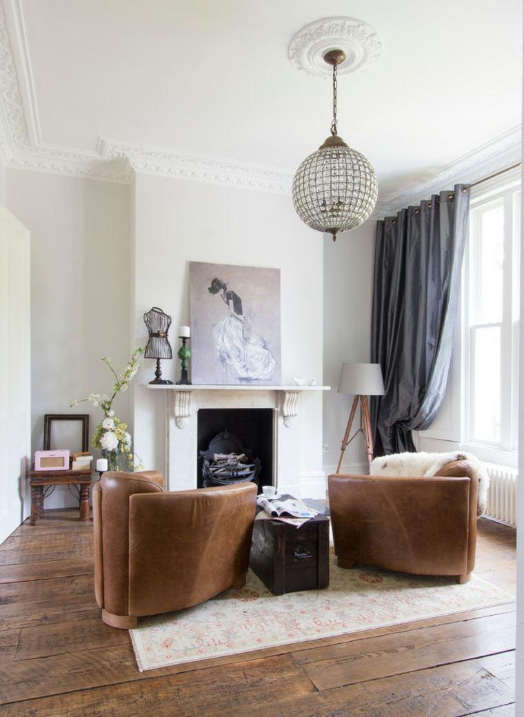 lamparas para salon madera contemporanea cortinas
