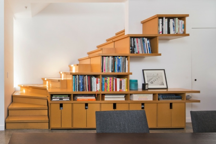 libreria entre escalones escaleras madera Gordon Walker ideas