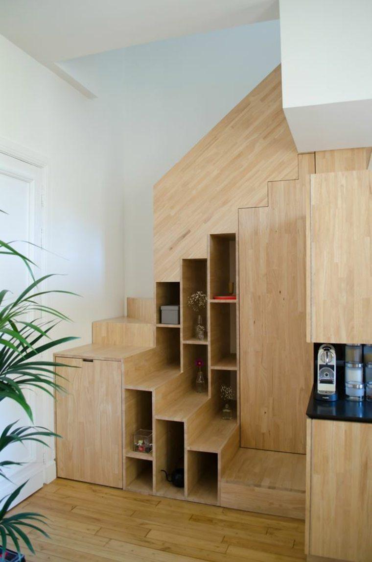 lugar libros escaleras apartamento diseno estilo L atelier miel ideas
