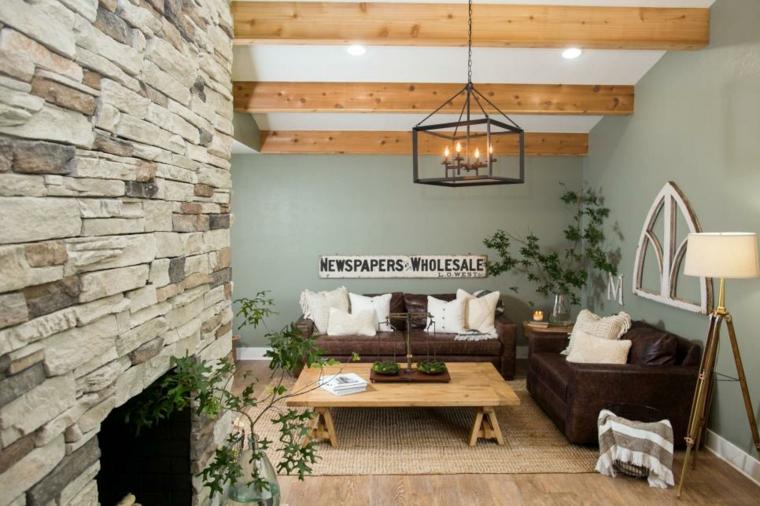 madera rocas pared acento blanco