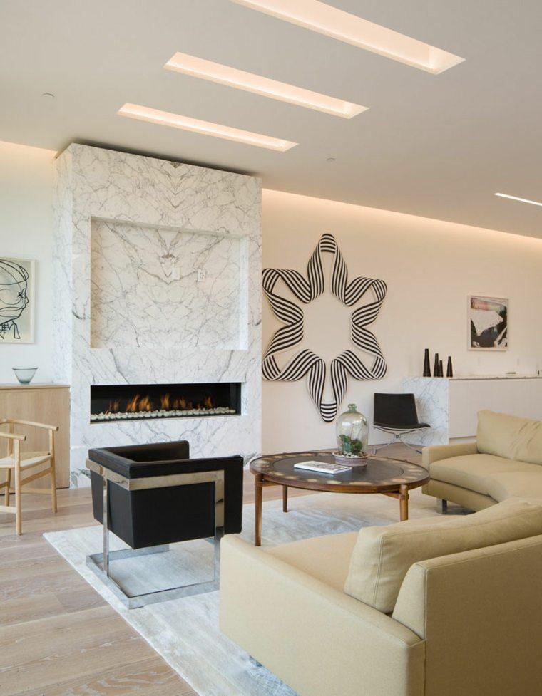 marmol efecto luces claras chimeneas lamparas