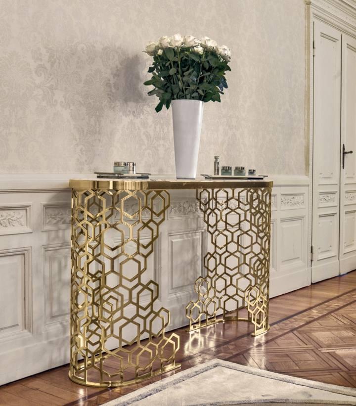 mesa dorada estilos florales diseños modernos especiales