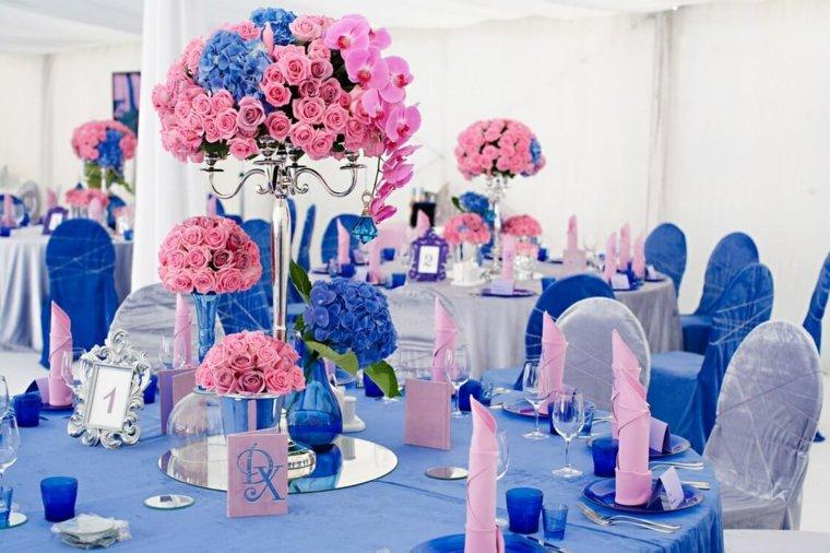 mesas dulces bodas diseno azul rosa ideas