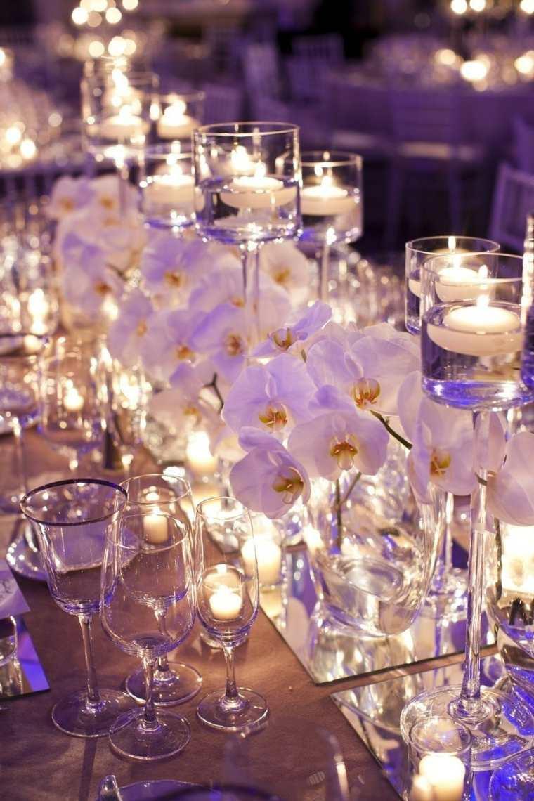 mesas dulces bodas diseno espejos flores blancas ideas