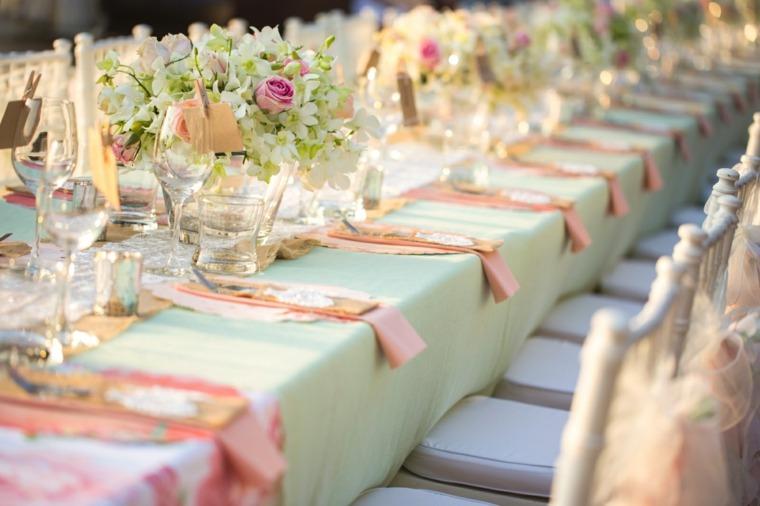 mesas dulces bodas diseno flores mantel colores originales ideas