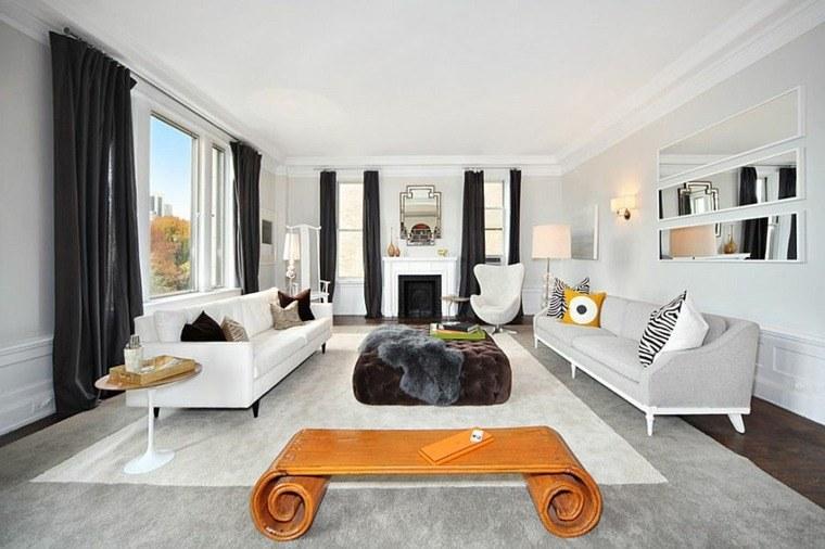 muebles blancos cortinas negras salon ideas