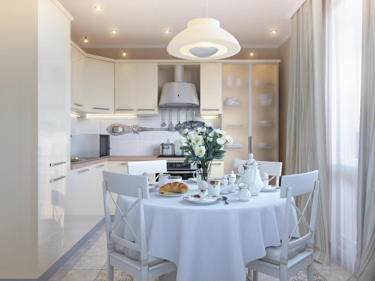 Comedor blanco de dise o moderno 24 fotos geniales for Muebles romanticos blancos