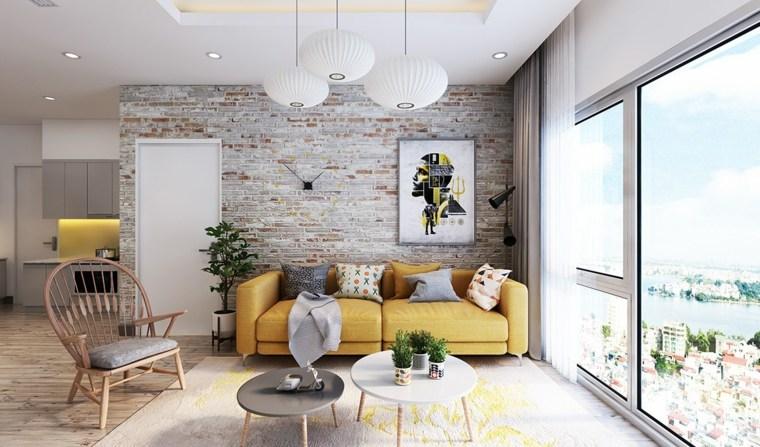 muebles de sala amarillo acentos lineas
