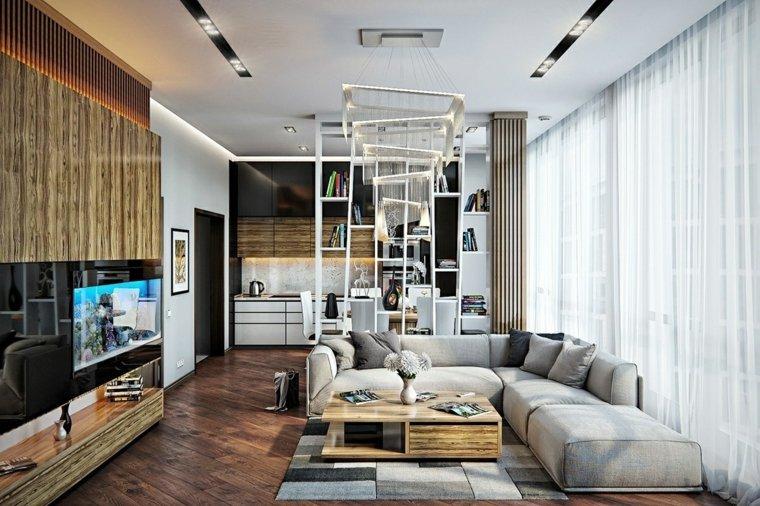 muebles de sala grises maderas sillones