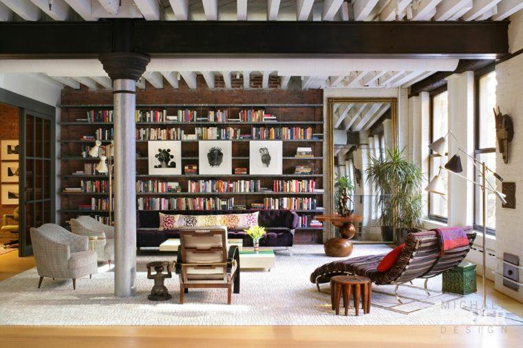 muebles de sala librero paredes colores