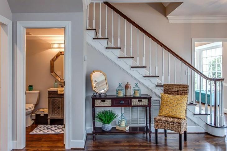 muebles pasillo entrada casa diseno escalera silla ideas