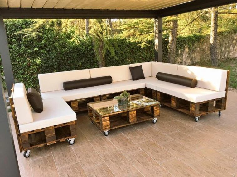 muebles terraza ruedas palet
