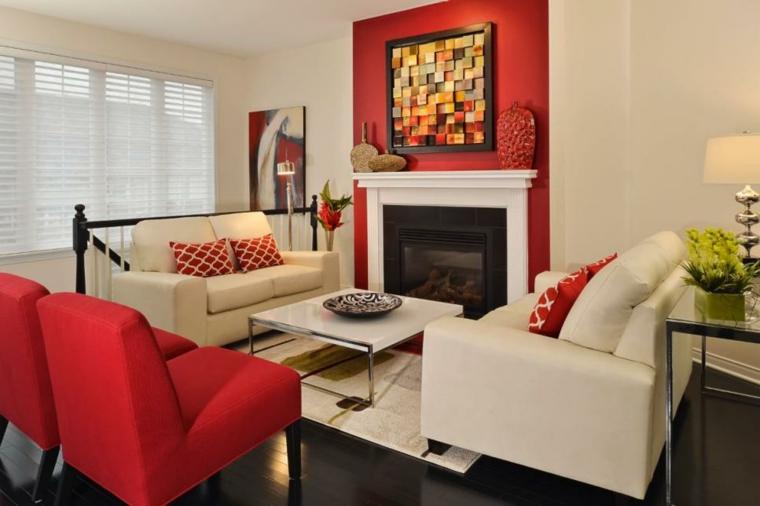 neutral chimeneas rojo muebles acentos