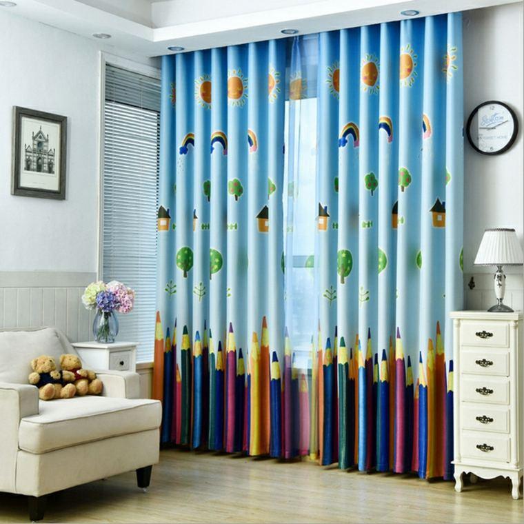 cortinas estampados lápices colores
