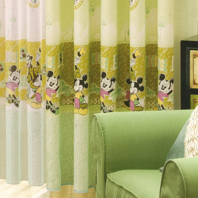originales cortinas verdes mickey