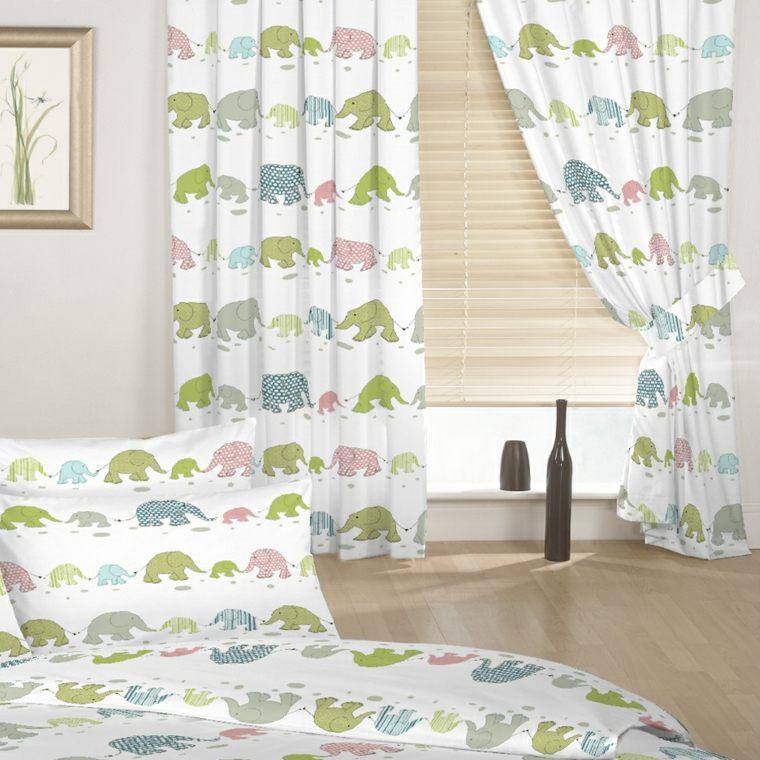 originales cortinas estampados elefantes