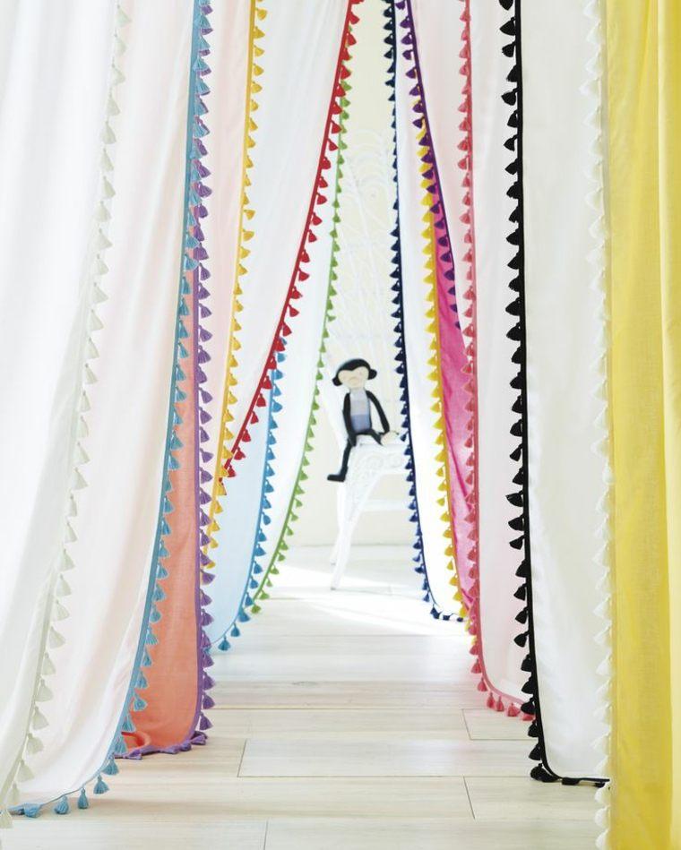 originales cortinas flecos colores