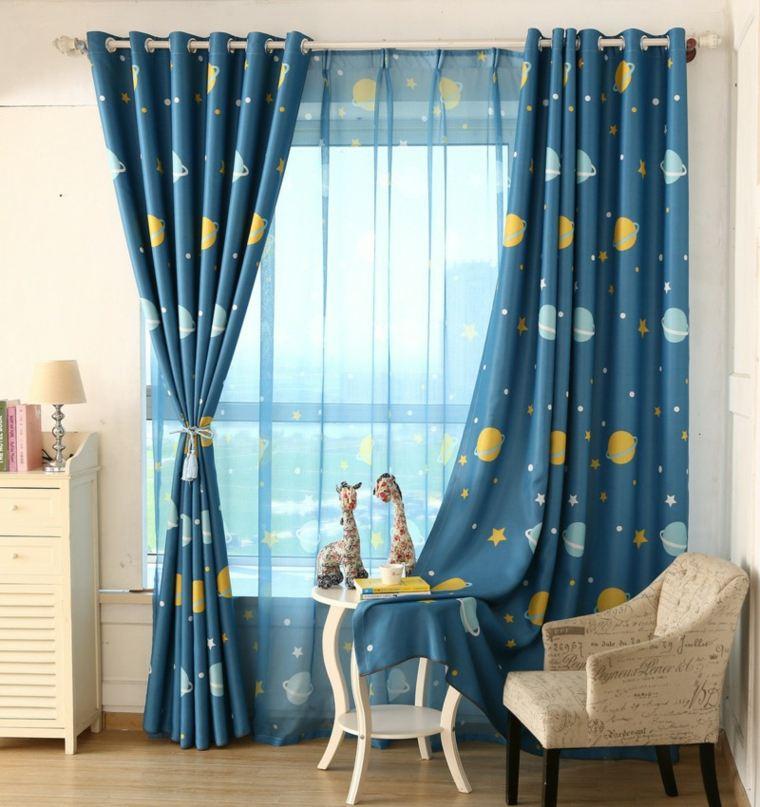 origtinales cortinas azules planetas