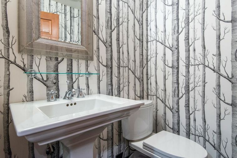 papel pintado decorativo baño