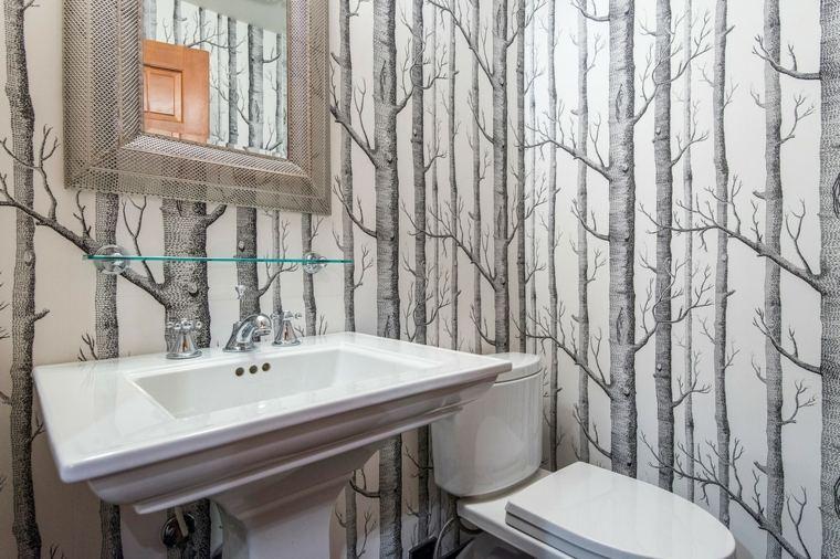papel pintado decorativo baño