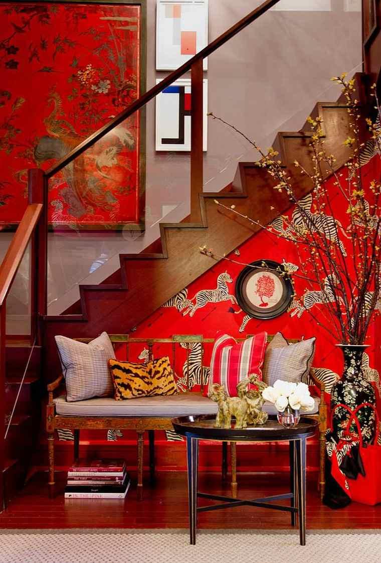 papel pared rojo patrones