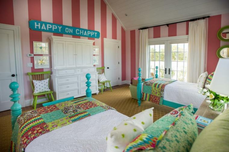 paredes rosa rayas especiales lineas de diseño estilos verede