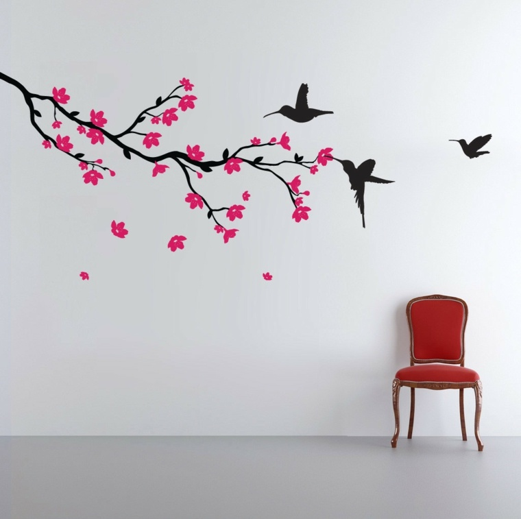 pegatina vinilo rama flores aves